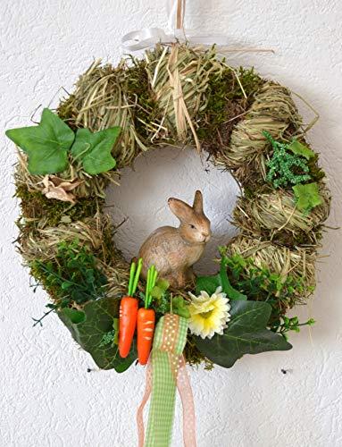 Maison en France Türkranz - hübscher deorativer Osterkranz mit Hase aus Naturmaterialien, einschl. Bänder zum Aufhängen