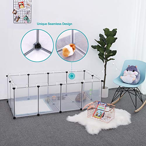 SONGMICS Pet Playpen,Fence Cage with Bottom for Small Animals Guinea Pigs, Hamsters, Bunnies,Rabbits, Pet Exercise Run and Crate, Transparent Plastic Panels, ULPC02W