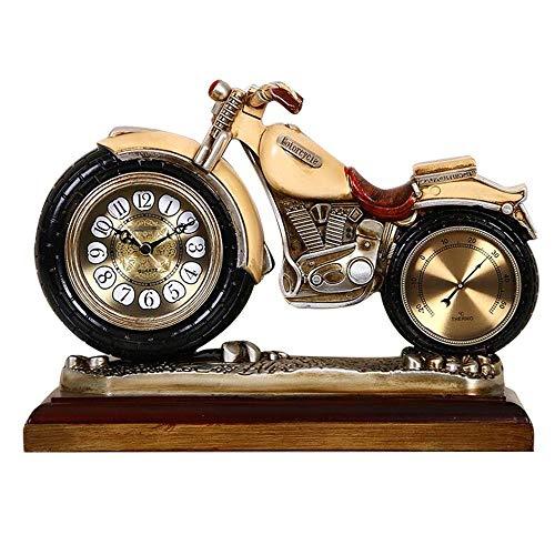 YANGYUAN Tabla motocicleta Reloj - Relojes Manto de reloj Mesilla de noche de la vendimia de estar silenciosa habitación Escritorio Estante relojes con pilas for la Oficina del dormitorio, 12 pulgadas