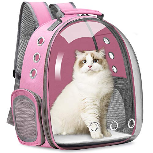 Vailge Cat Carrier Backpack, Pet Carrier Backpack Front Pack for Small Medium Cat Puppy Dog Carrier Backpack Bag Space Capsule, Pet Carrier for Travel Hiking Walking Camping (Pink)