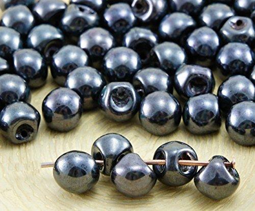30pcs Picasso Opaca de color Negro azabache, el Lustre de Setas de Botón checa Perlas de Vidrio de 5 mm x 6 mm