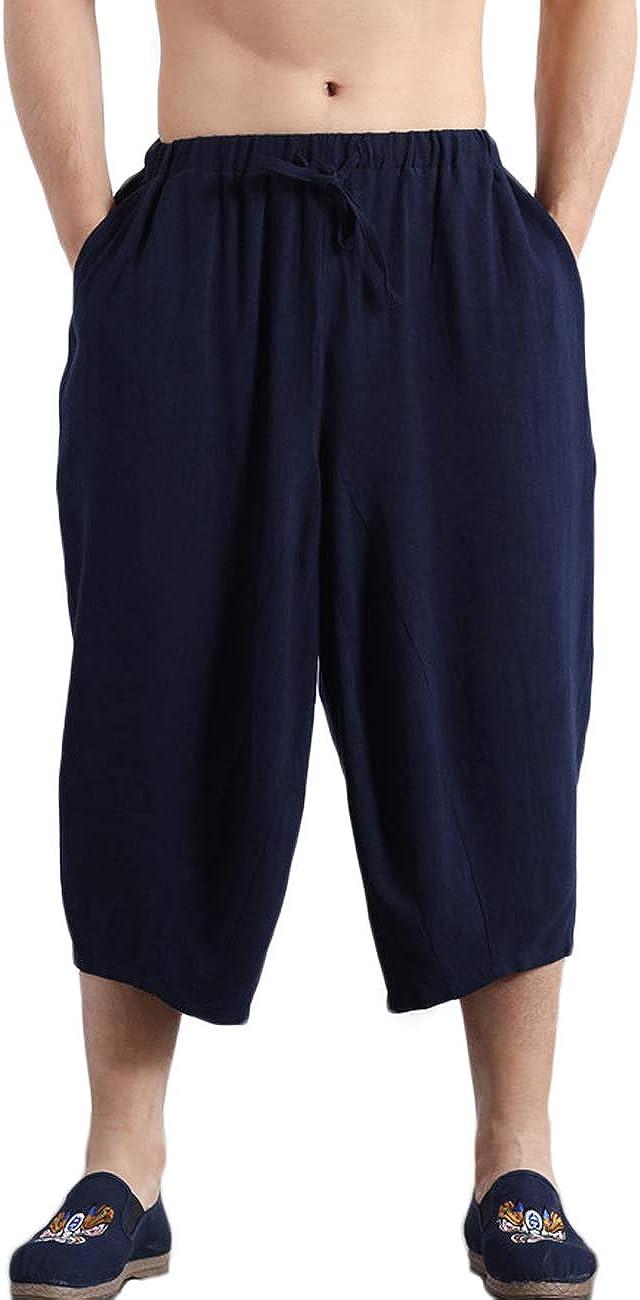 Men's Summer Cotton Linen Beach Shorts Elastic Waist Workout Fitness Pants with Pockets