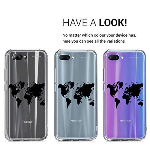 kwmobile Huawei Honor 10 Hülle - Handyhülle für Huawei Honor 10 - Handy Case in Travel Umriss Design Schwarz Transparent - 4