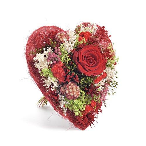 Bouquet Cuore (Rosso) Sanremo fiori essiccati dalla Riviera dei Fiori con rosa stabilizzata …