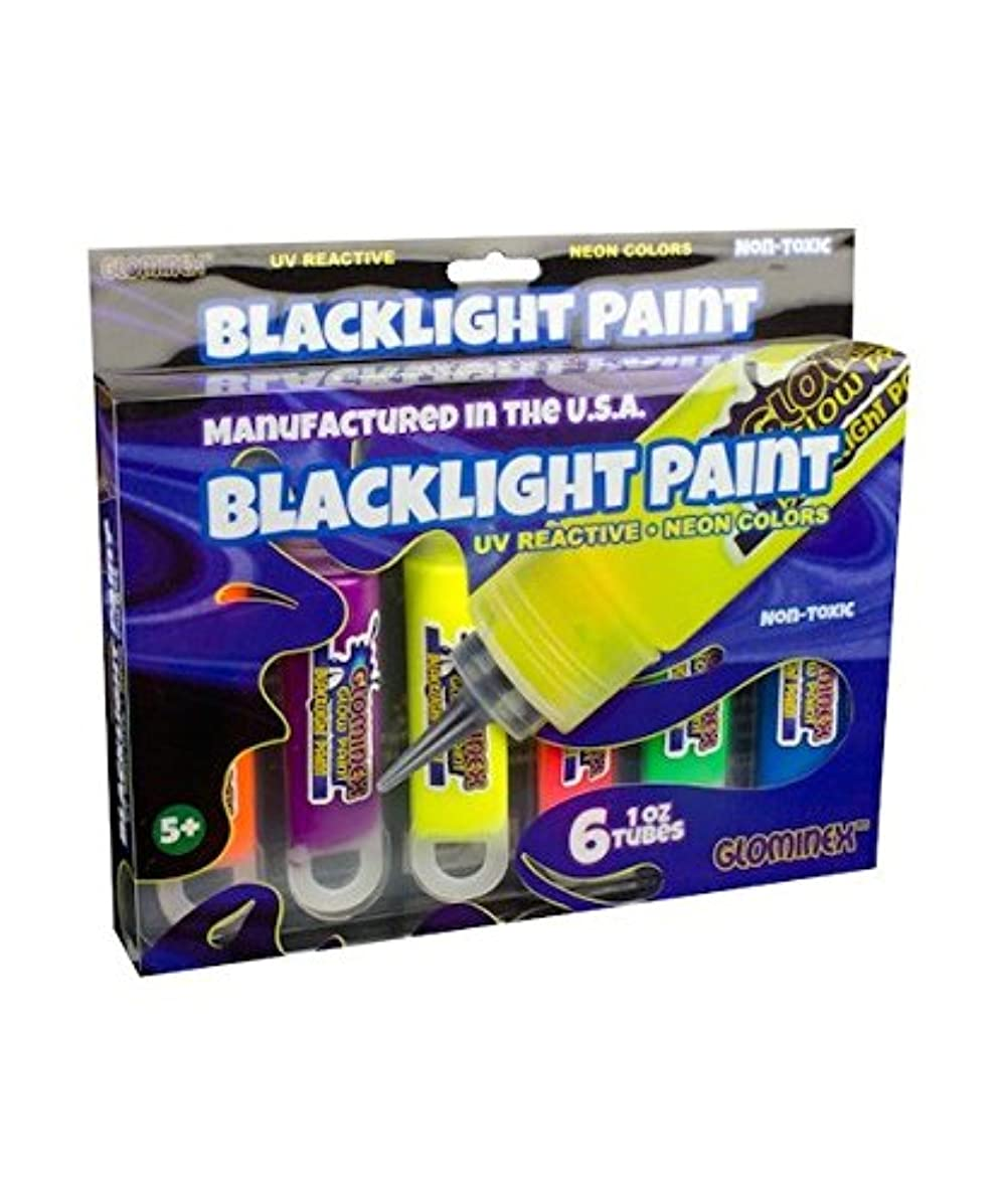 Glominex PG1T6R Blacklight UV Paint Assorted Tubes-6, 1 Ounce 6ct