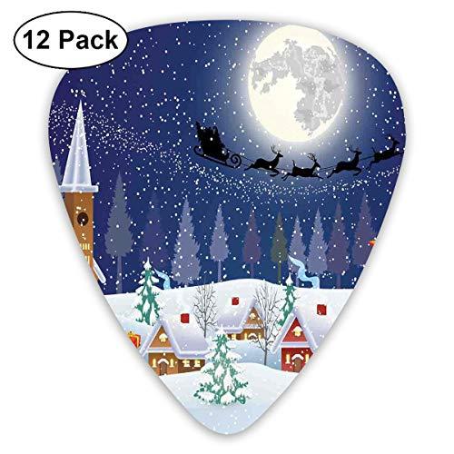 Gitaar Picks12 stks Plectrum (0,46 mm-0,96 mm), Winter Seizoen Sneeuwman Kerstboom Kerstman Slee Maan Present Boxen Sneeuw En Sterren,Voor Uw Gitaar of Ukulele