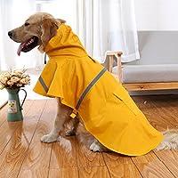 「4色」ペット 犬用 ポンチョ レインコート 小型犬 中大型犬用 雨具 泥 雨 雪除け カッパ 雨合羽 幅広 着脱簡単 反射テープ2箇所付き 雨の日も安心夜道でも安全 6サイズ (S, イェロー)