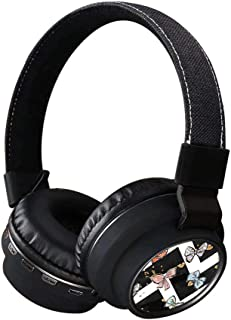 Bluetooth Headphones, INmark Wireless Headsets with SD Card FM Radio in-line Bluetooth 4.2 Volume Control Microphone, Soft ABS on Ear Hi-Fi Stereo Black Earphones for Adult (Chevron Stripes)