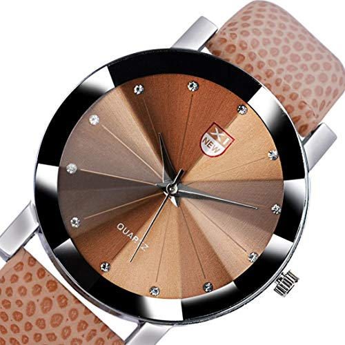 Wensltd Men's Classy Stainless Steel Quartz Military Sport Leather Band Dial Wrist Watch (Brown)