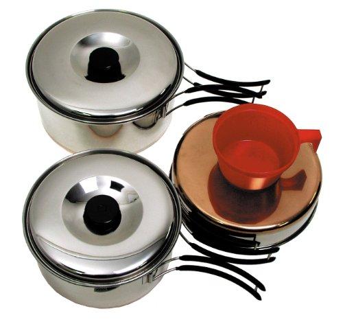 Fox Outdoor Batterie de Cuisine en Acier Inoxydable Grand Format 2 casseroles 1 poêle 2 Tasses en Plastique (Argent)