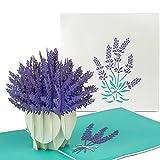 PaperCrush Pop-Up Karte Blumen Lavendel - 3D Blumenkarte für beste Freundin oder Mutter (Geburtstagskarte, Runder Geburtstag, Dankeskarte, Gute Besserung) - Handgemachte Popup Karte mit Blumenmotiv
