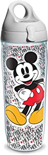 Tervis Disney Mickey Name Pattern Wrap Clear Inner Water Bottle with Grey Lid, 24 oz -