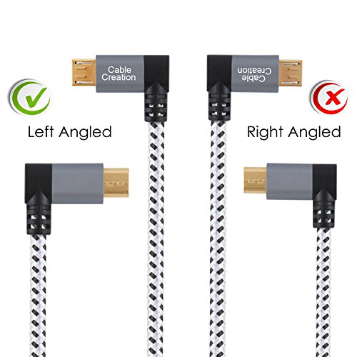 CableCreation Micro USB Kabel 15cm, kurzes Links Winkel Micro USB 2.0 Geflochten Kabel, 90 Grad vertikal Links USB A Stecker auf Micro USB Stecker mit Aluminiumgehäuse Ladekabel, Space Grau