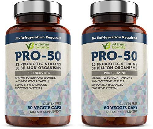 Vitamin Bounty - Pro 50 Probiotic - 13 Probiotic Strains, 50 Billion Organisms Per Serving (2 Pack)