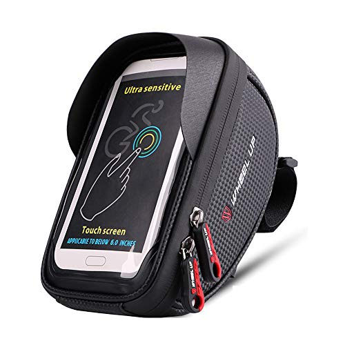 Outdoor Bag, Bicycle Frame Bag Bicycle Bag Bag Waterproof Cycling Front Top Touch Screen Storage Bag with Hole for Headphones, Black, size