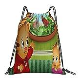 Daniel Tiger's Neighborhood Mochila clásica con cordón, bolsa de yoga portátil para hombres y mujeres, mochila deportiva, bolsa de almacenamiento de compras
