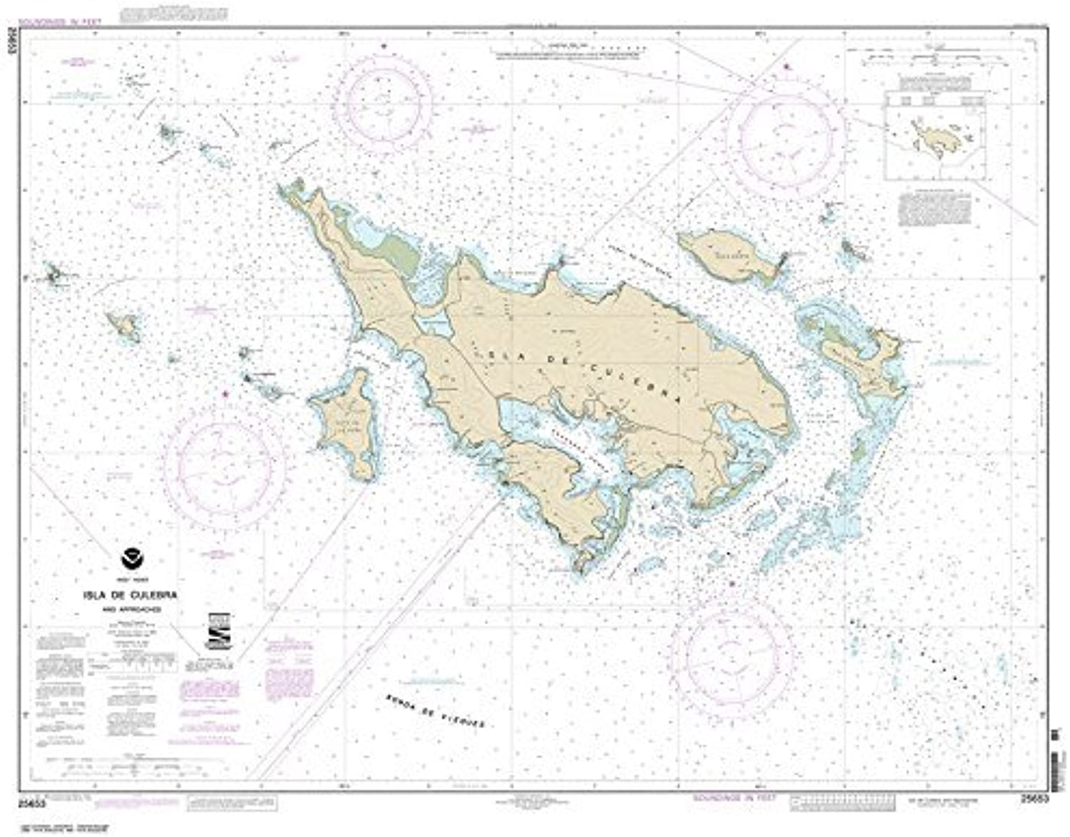 NOAA Chart 25653  Isla de Culebra and Approaches (TRADITIONAL PAPER) 35.5 x 45 by Paradise Cay Publications