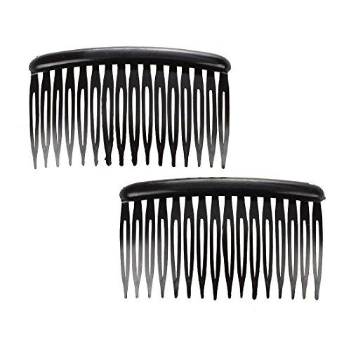 SODIAL(R) Femmes 16 dents Noir Plastique Peigne Pince a cheveux 3,1 pouces Long 2 Pcs