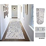 Comercial Candela Alfombra de Pasillo de Textil Resinado Antimanchas, Lavable   Base PVC Antideslizante y Aislante Diseño Mosaico Baldosas (52_x_250 CM)