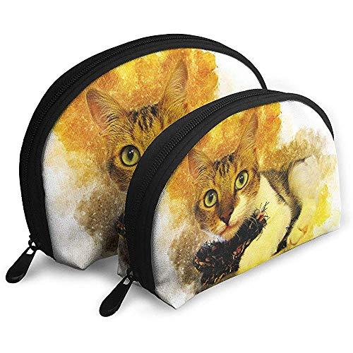 Gato Acuarela Colorida Arte Bolsas portátiles Bolsa de Maquillaje Bolsa de Aseo, Bolsas de Viaje portátiles multifunción Pequeña Bolsa de Embrague de Maquillaje con Cremallera