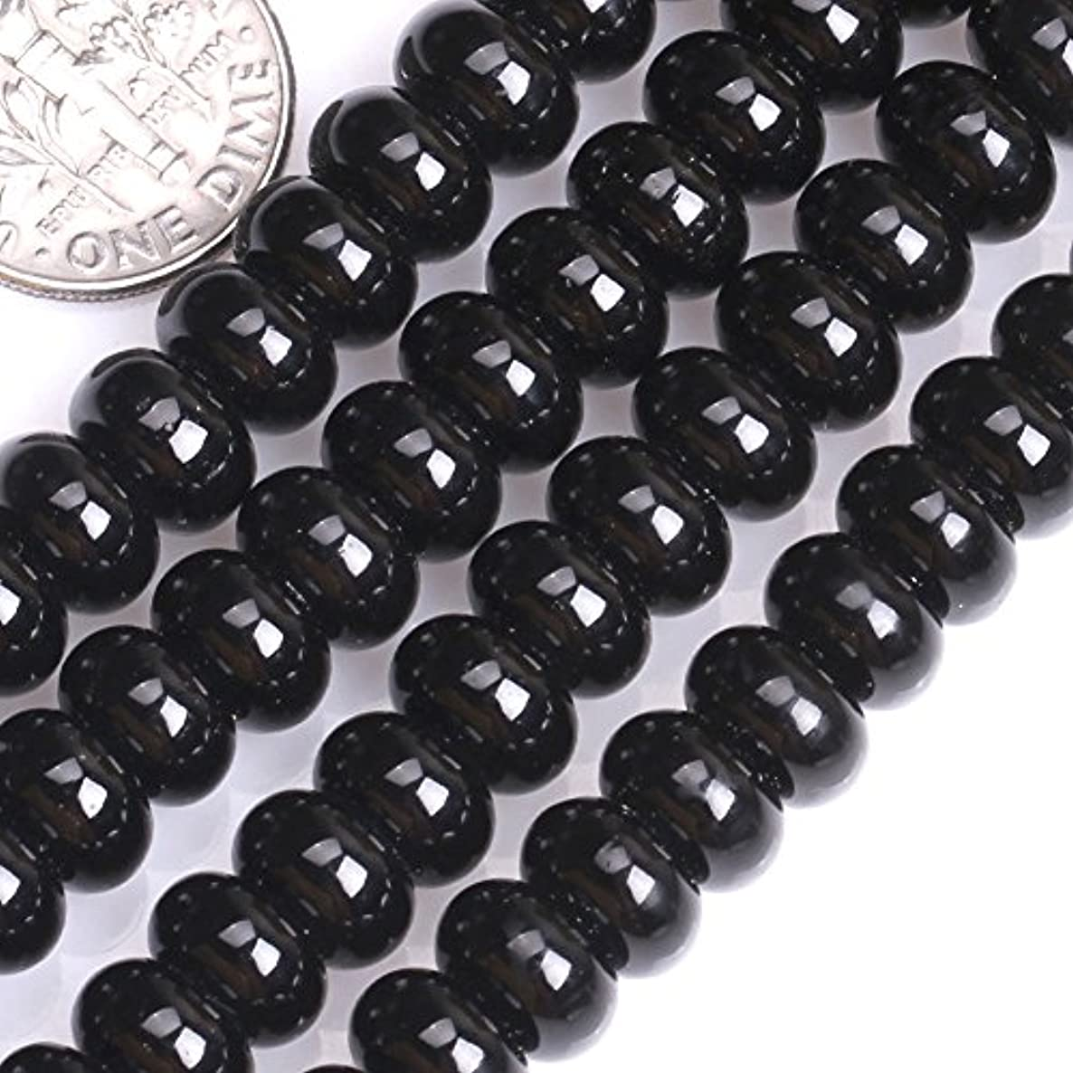 GEM-inside Black Agate Gemstone Loose Beads 5X8mm Roundelle Shape Energy Stone Power For Jewelry Making 15 Inches