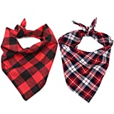 2 Pack Dog Bandana, Classic Plaid Snowflake Pet Scarf Triangle Bibs Kerchief Set Pet Costume Decoration for Small Medium Large Dogs Cats Pets (Large, Red)