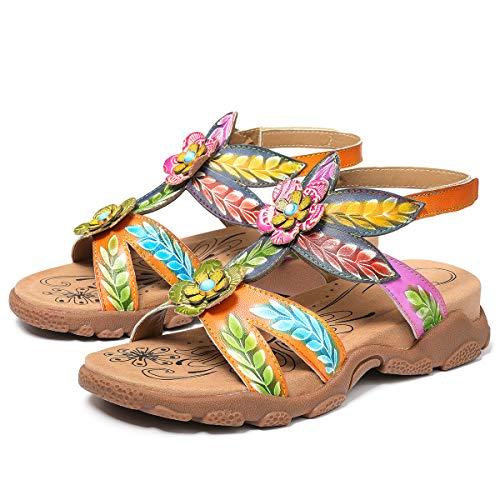 Camfosy Damen Leder Wandern Flach Sandalen,Sommer Outdoor Sport Sandalen Urlaub Freizeit Handgefertigt Schuhe Verstellbare Klettverschluss Gemütliche Barfuß-Gefühl Wanderschuhe Orange 37 EU
