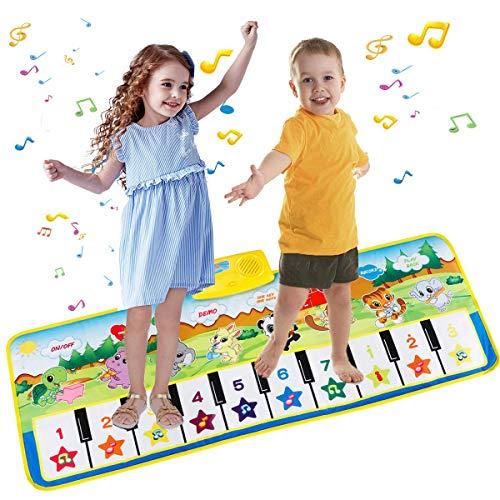 Vegena Tapis Musical Bébé Piano, Tapis de Piano, Tapis de Jeu Musical Instrument Touch Jeu Clavier pour Enfants Cadeau 100x36cm
