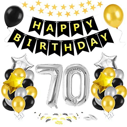 Bluelves 70 Anni Palloncini Compleanno, Palloncini Numeri 70 Nero Oro Argento, Kit Decorazioni 70 Compleanno, Addobbi Compleanno Adulti Festa Decorazioni, Nero Oro Striscione Foil Palloncini