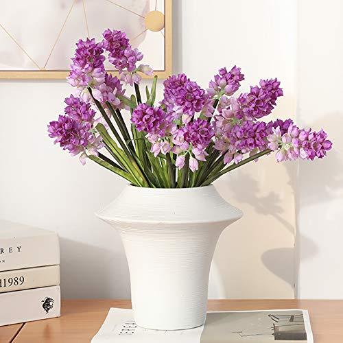GANHUA Europese-stijl kunstbloem driekoppige hyacint verse nep bloem ﺮ bloem bruiloft bloemenhyacint tafel decoratie bloem Morandi (white) + 6 hyacinth purple