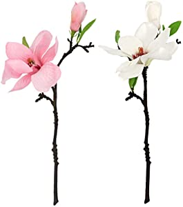 ZFRANC 6 Pcs 14in Real Touch Artificial Magnolia Flowers with 2 Forks Silk Fake Flowers Bouquet for Floral Arrangements Gift Wrapping Home Office Decor