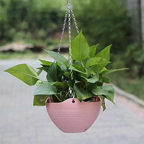Wankd Blumenampel, 2 Stück Hängepflanztopf Blumentopf Hängend aus Kunststoff, Hängetopf Hängeampel für Außen und Innen, Ideal für Ihre Terrasse, Veranda, Balkon, Haus (Pink)