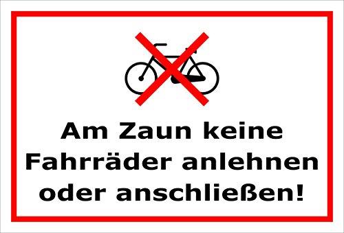 Melis Folienwerkstatt Schild - Zaun - Fahrräder - 30x20cm | Bohrlöcher | 3mm Hartschaum – S00050-013-B -20 Varianten