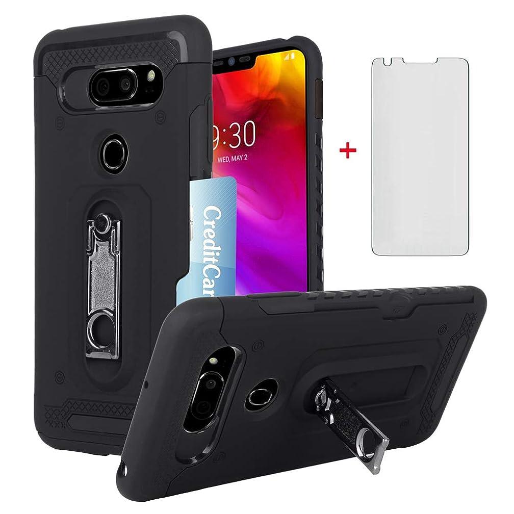 LG V35 ThinQ V30 Plus Wallet Phone Case with Tempered Glass Screen Protector Credit Card Holder Kickstand Heavy Duty Cover for LGV30 LGV35 LG30 LG35 V35thinq V30plus V 30 35 30+ V30+ V30s H931 Black