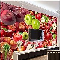 Xbwy 装飾壁画壁紙フレッシュフルーツアップル背景壁壁画キッチンレストラン最新モダン装飾壁紙-350X250Cm