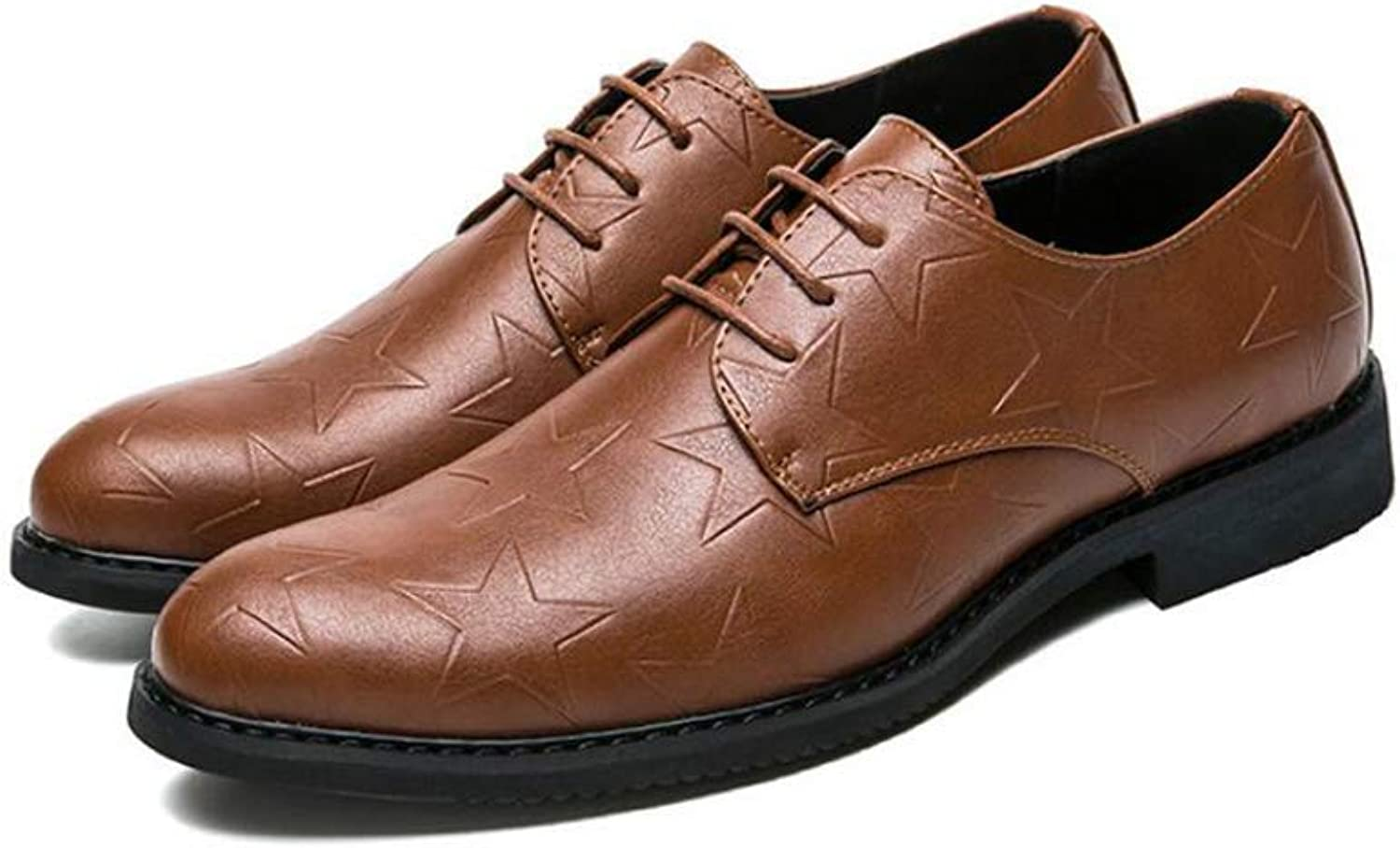 FuweiEncore Men's Leather shoes, Formal Office shoes, British Style Pointed Toe shoes, Youth Wild Business shoes, Casual Dress shoes, (color  Brown, Size  41) (color   Brown, Size   39)