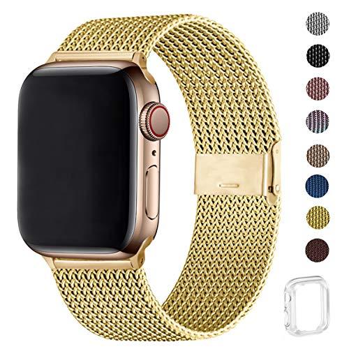 WFEAGL コンパチブル apple watch バンド, コンパチブルiWatch通用ベルト apple watch series 6/5/4/3/2/1, SEに対応 交換ベルトステンレス製 (42mm 44mm, ゴールド)