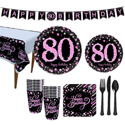 Amosfun 114 Piezas Accesorio de Fiesta de Cumpleaños 80 Años Banner de Cumpleaños Vajillas Platos Vasos y Servilletas Mantel de Mesa Artículos de Cumpleaños Decoración de Fiesta de Cumpleaños