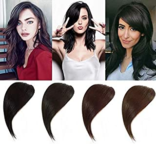 HIKYUU Chestnut Brown Thick Clip in Side Bangs Human Hair Extensions Remy Handmade Side Swept Clip in Fringe Bangs