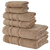 Qute Home 6-Piece Bath Towels Set, 100% Turkish Cotton Premium Quality Bathroom Towels, Soft and Absorbent Turkish Towels, Set Includes 2 Bath Towels, 2 Hand Towels and 2 Washcloths (Brown)