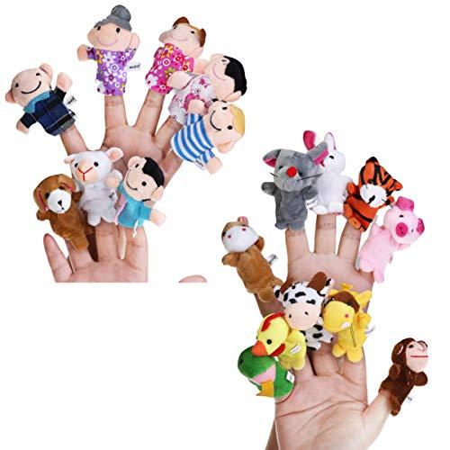 Toddmomy 18 marionetas de dedo con diseño de animales, familia y personas