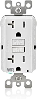 Leviton GFWT2-W 20 Amp Self-Test SmartlockPro Slim GFCI Weather-Resistant and Tamper-Resistant Receptacle with LED Indicator, 10-Pack, White