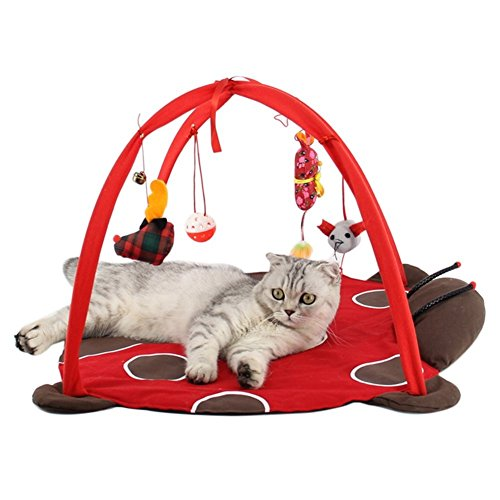 Tapis de jeu et d'activité mobile Freeas pour chien ou chat, Lit rembourré pour animal domestique avec jouets suspendus: clochettes, balles et souris