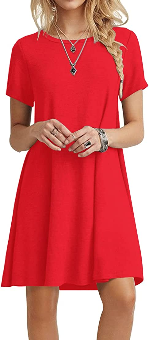 POPYOUNG Max 90% OFF Women's Tampa Mall Summer Casual Tshirt Dresses