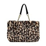 Bolso de hombro de la bolsa de asas de la cremallera del bolso de la felpa de las mujeres de gran capacidad mullidas de invierno (leopardo)