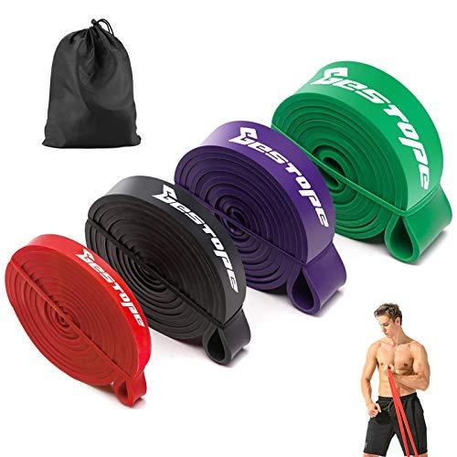 BESTOPE Bandas de resistencia Kit - Bandas de ejercicios Aparatos de gimnasia Inicio, Servicio pesado Fuerza Entrenamiento fitness para hacer ejercicio (conjunto de 4 colores)