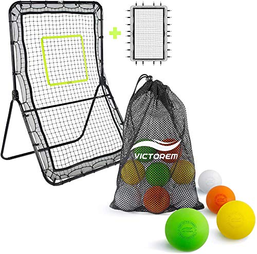 Victorem Lacrosse Rebounder with Lacrosse Balls Bundle - Bounce Back, Pitch Back Rebounder for Lacrosse with Set of 12 Lacrosse, Therapy Balls