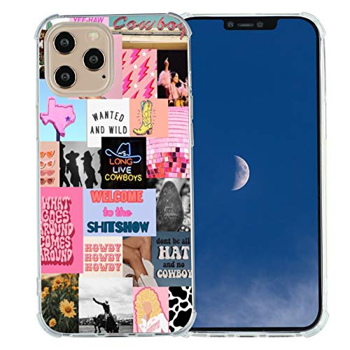 for iPhone 12 Pro Max Western Case,Cowgirl Cowboy Collage Retro Howdy Boho Horses iPhone Case,Country Cowboy Ranch Retro Countrygirl Vintage Case for iPhone,Soft TPU Gifts Case for Girl Women
