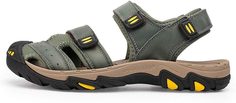 ZHRUI Mnner Sandalen aus echtem Leder Schuhe Outdoor Flip Flops leichte Strand Casual Hausschuhe (Farbe   Grün, Gre   10=45 EU)