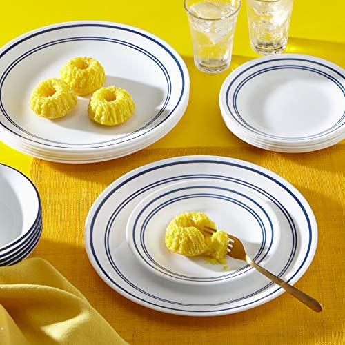 Corelle 18-Piece Service for 6, Chip Resistant, Classic Café Blue Dinnerware Set